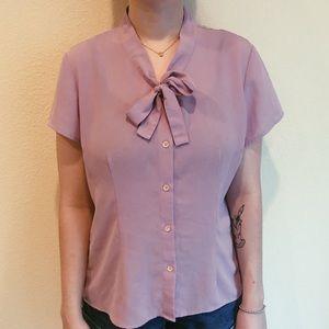Vintage Lavender tie blouse